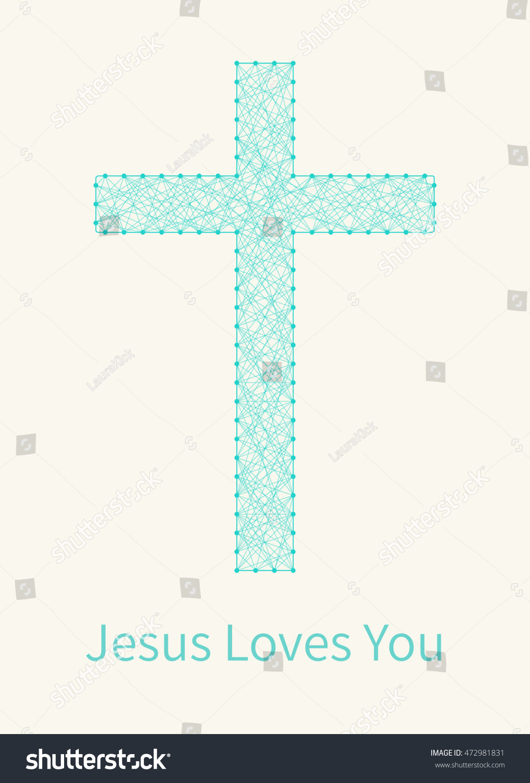 Christian Greeting Card Cross Sign Made Stock Vector Royalty Free