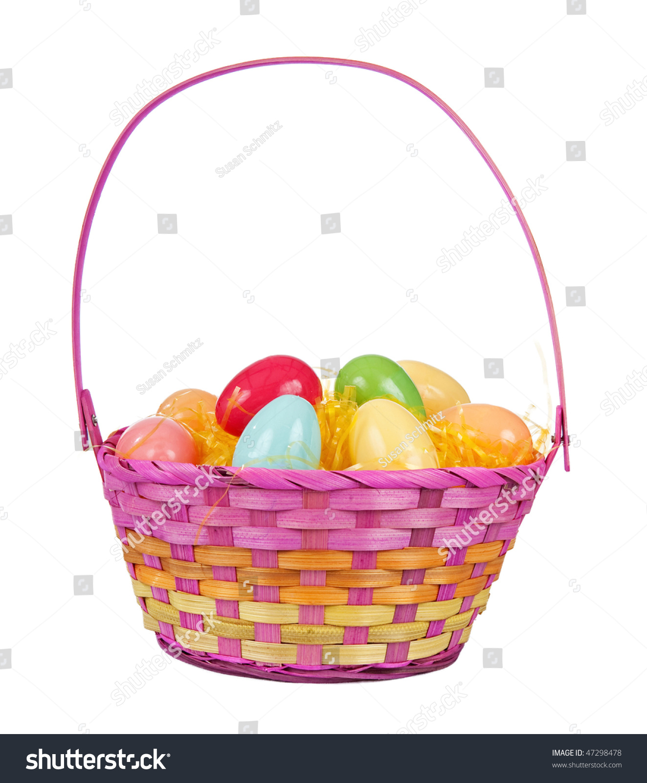 Pink Woven Easter Basket With Plastic Eggs