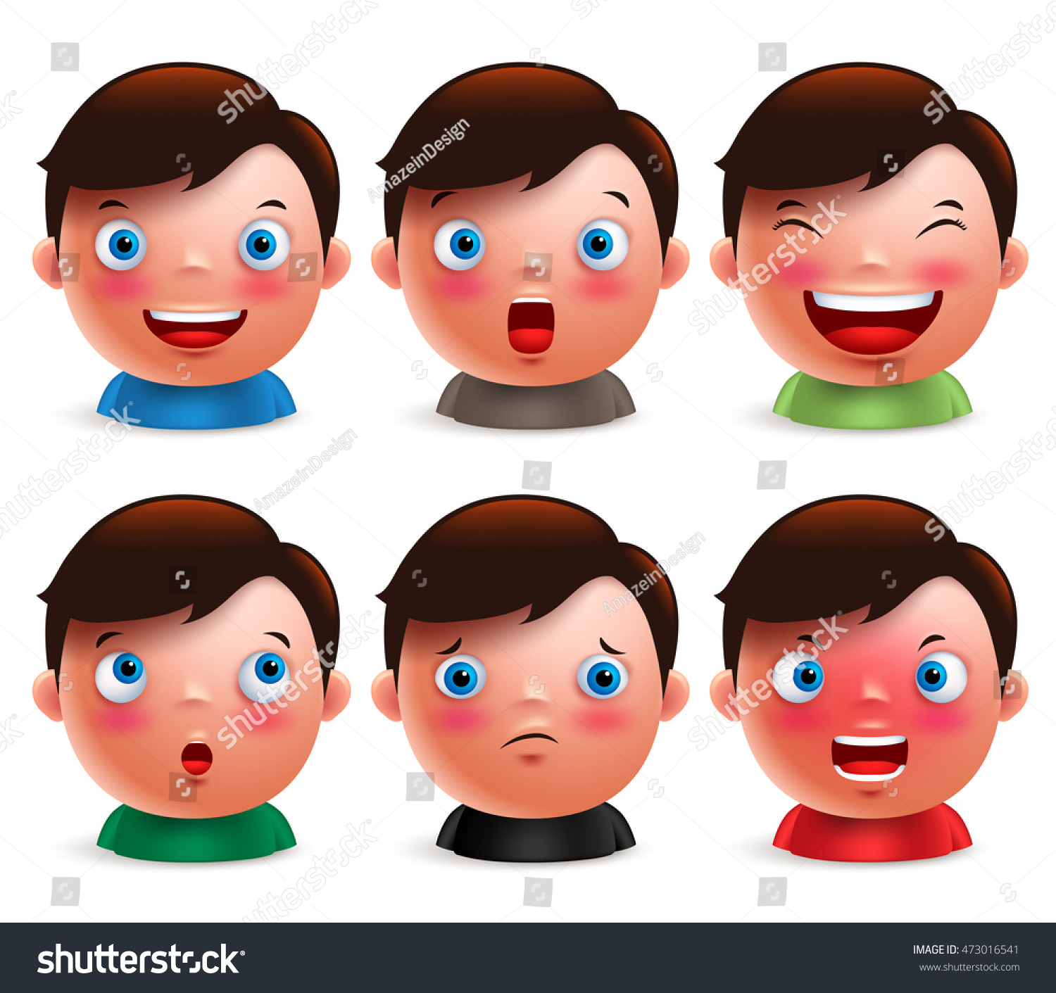 Young boy kid avatar facial expressions set. Cute emoticon heads vector  characters isolated in white