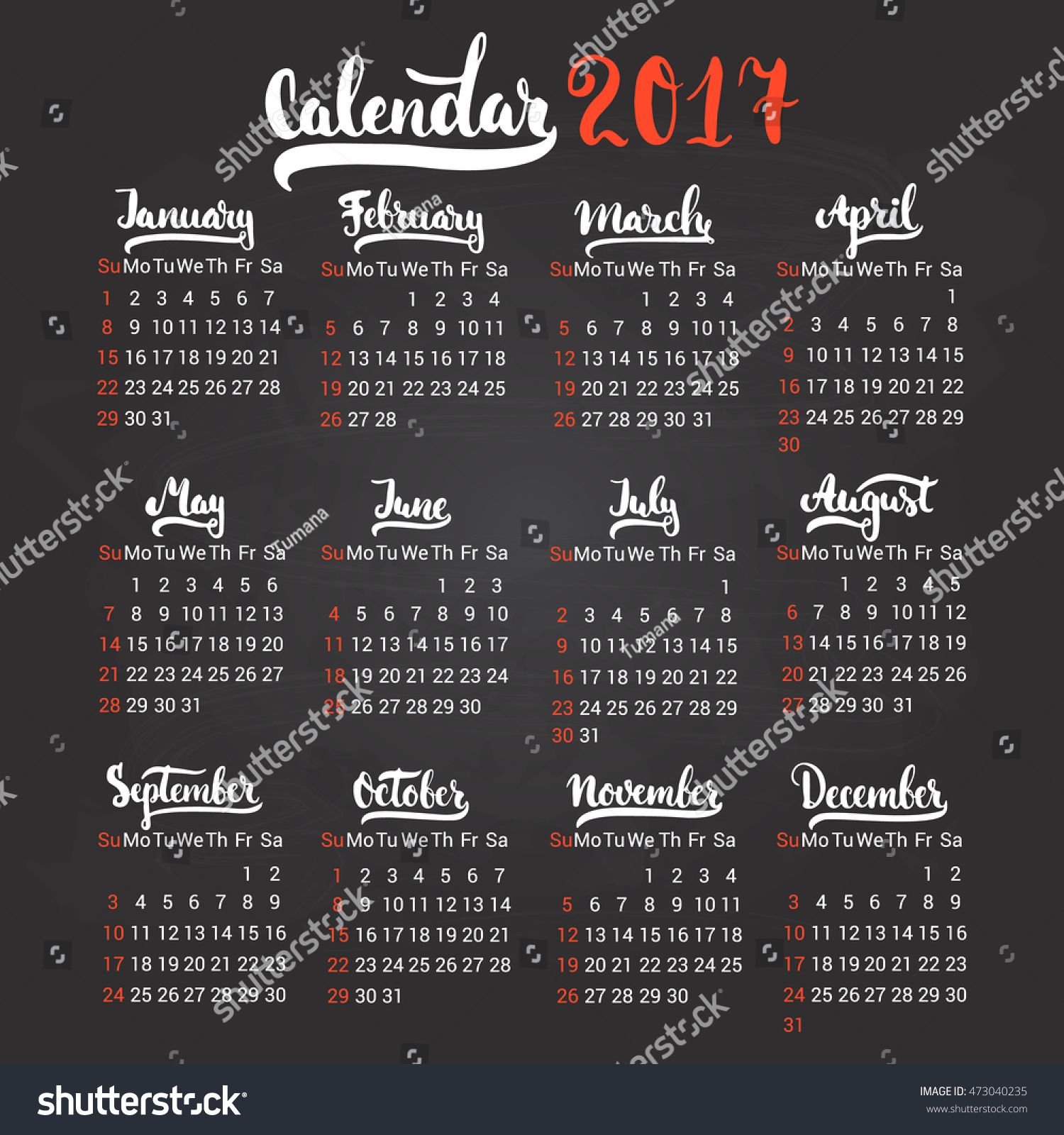 Calendar Typography Vector : Calendar design template vector isolated stock