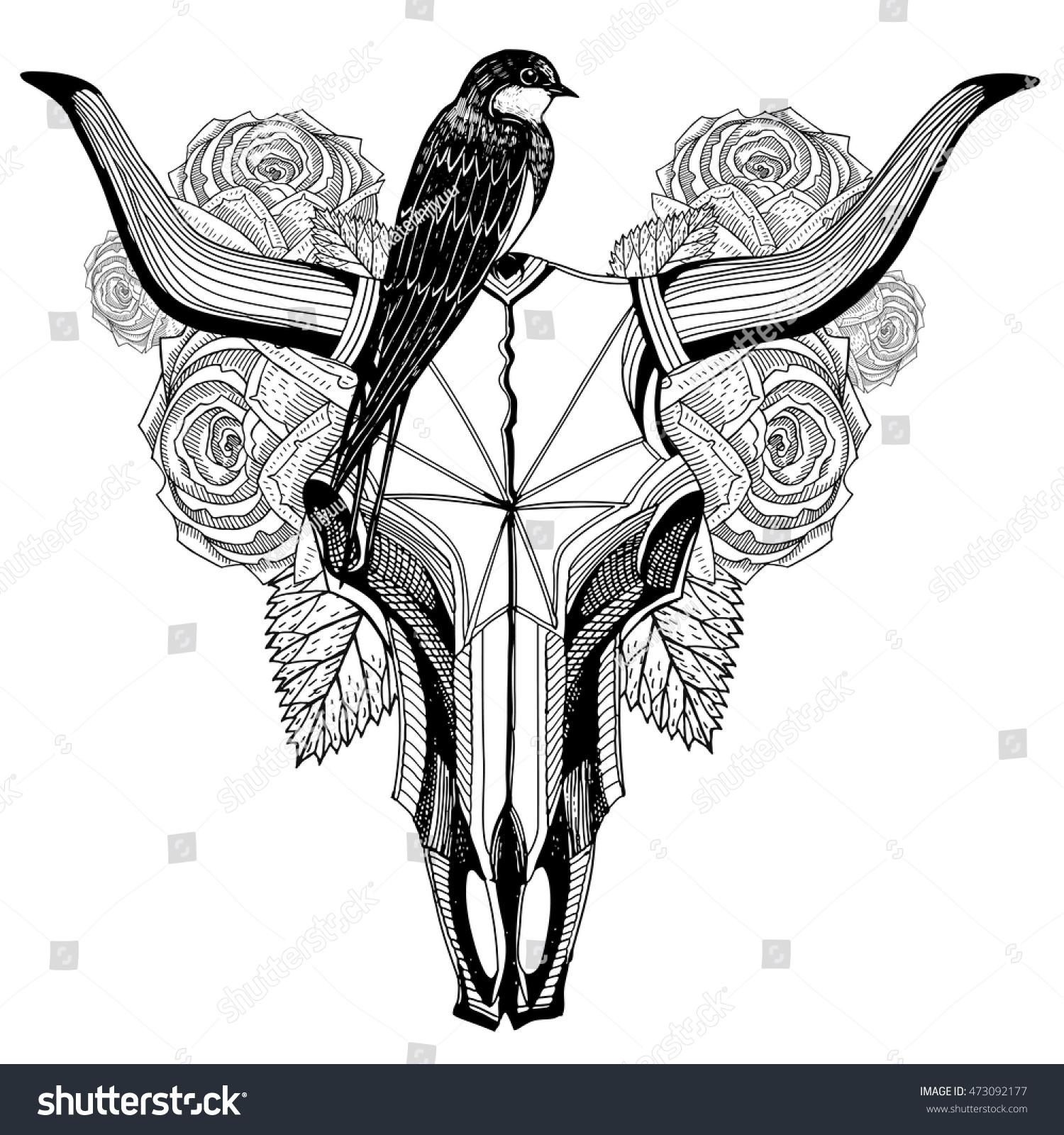 bird on bull skull tattoo roses stock vector 473092177 shutterstock