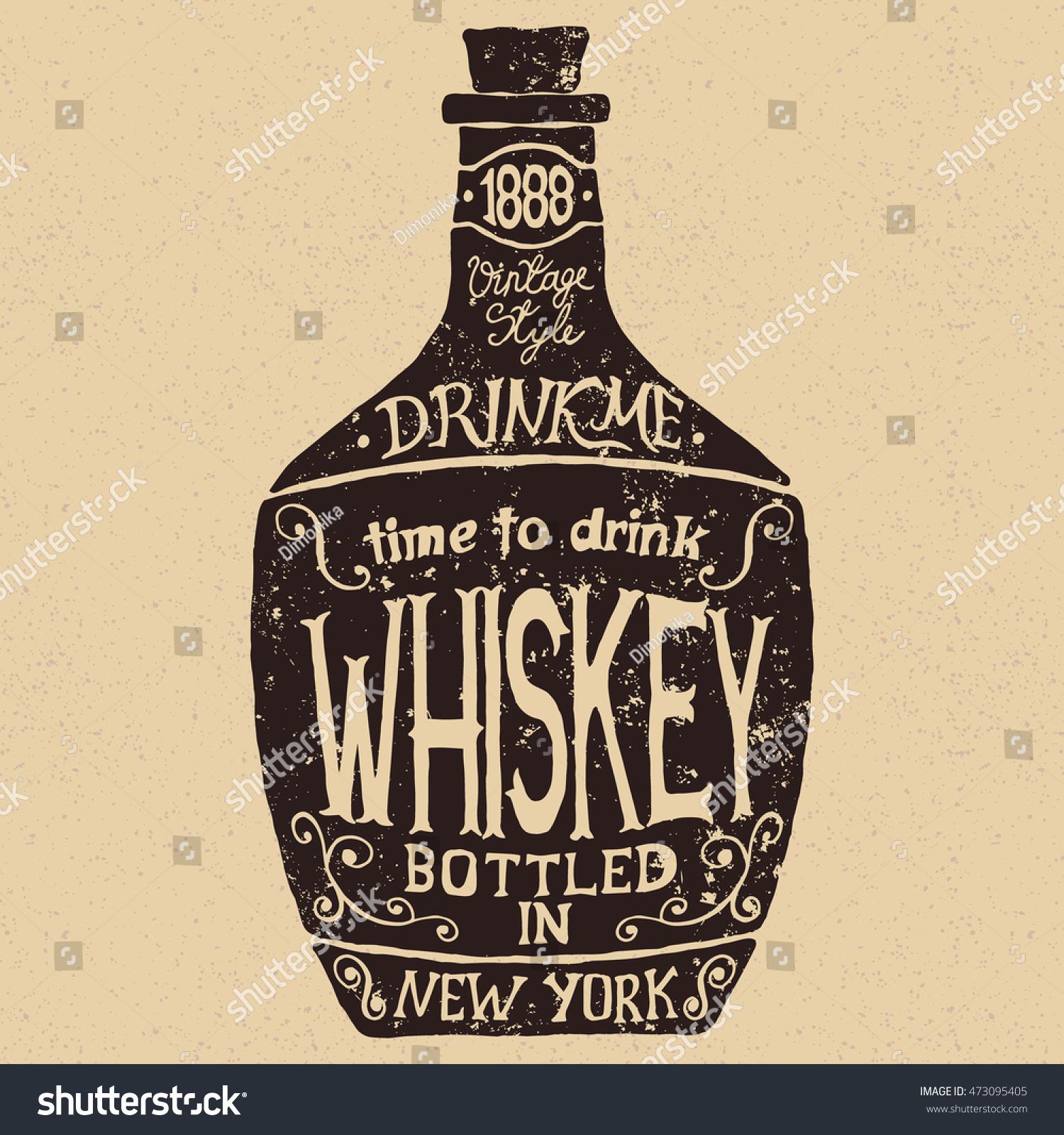 Vintage bottle whiskey letteringvector typography design stock vintage bottle of whiskey with letteringctor typography design of alcoholic drinks biocorpaavc Gallery