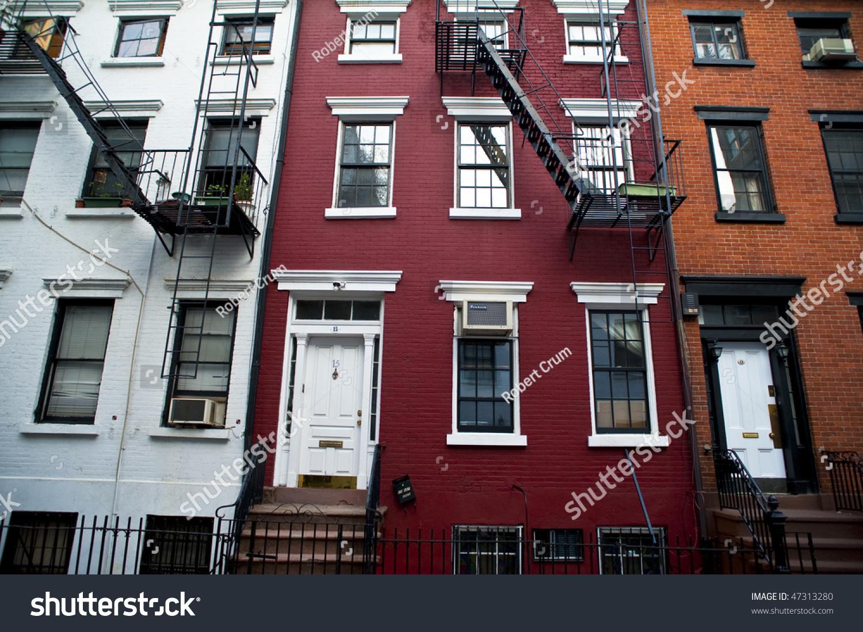 Old brick apartment buildings big city stock photo for Big city apartments