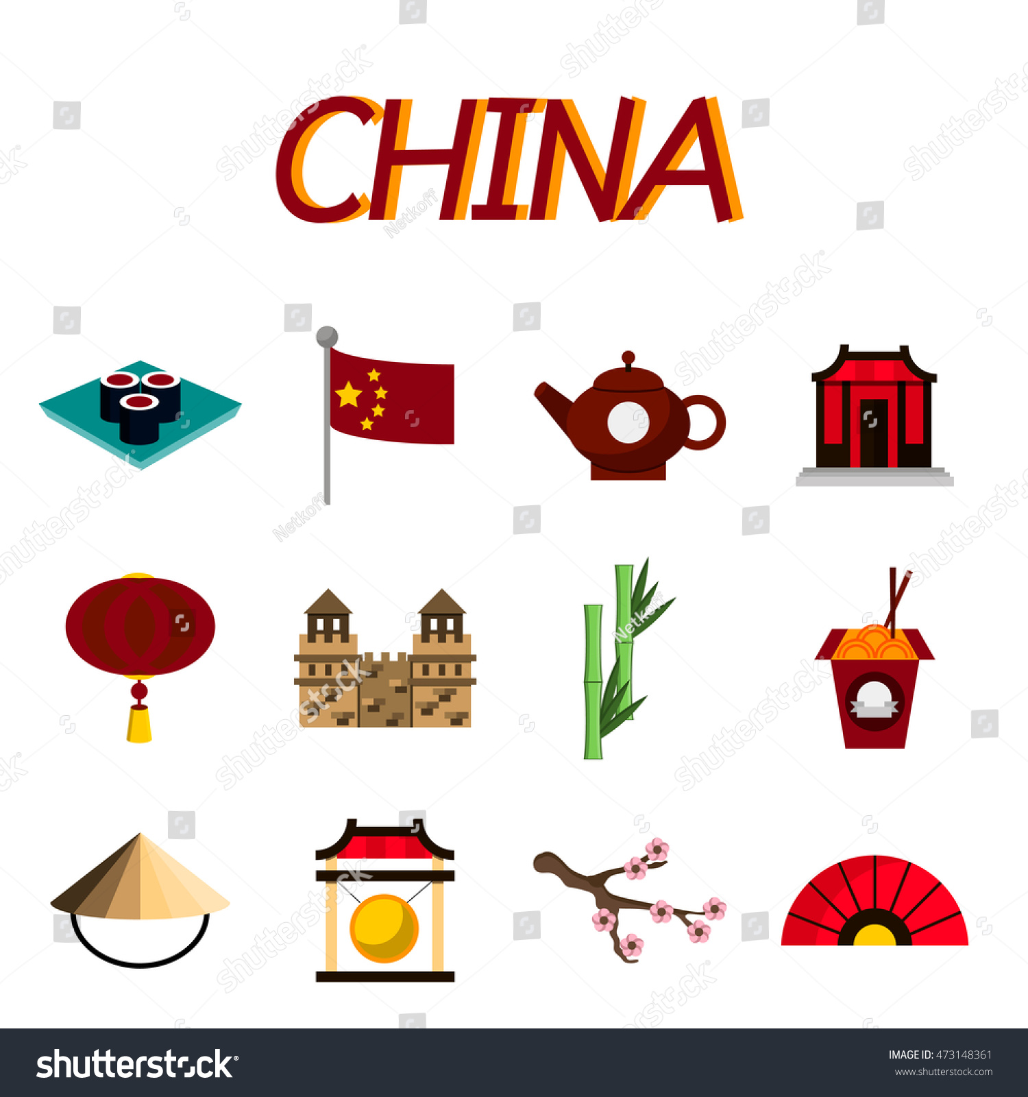 China Flat Icons Set Set Icons Stock Illustration 473148361