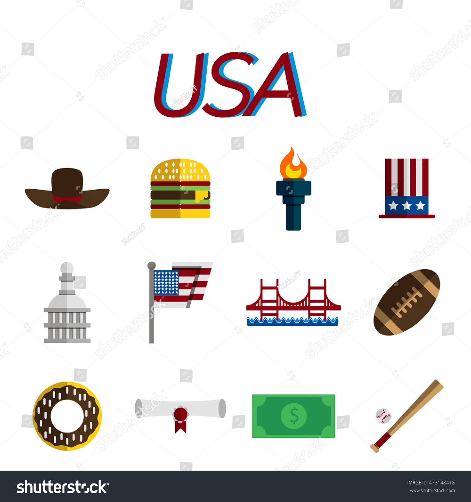 Set Flat Design Usa Travel Icons Stock Illustration 473148418
