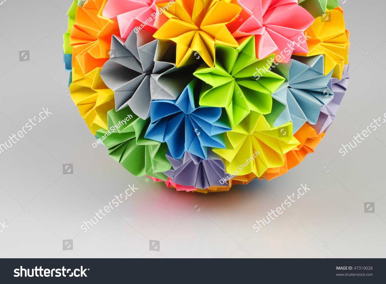 Colorfull origami kusudama rainbow flowers isolated stock photo colorfull origami kusudama from rainbow flowers isolated on white close up of part jeuxipadfo Gallery