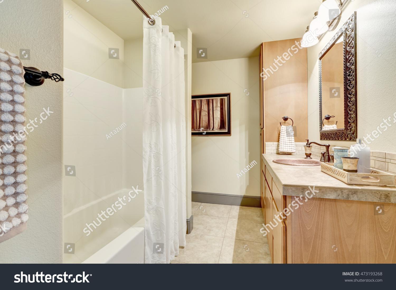 White Clean Bathroom Interior Modern Maple Stock Photo (Royalty Free ...