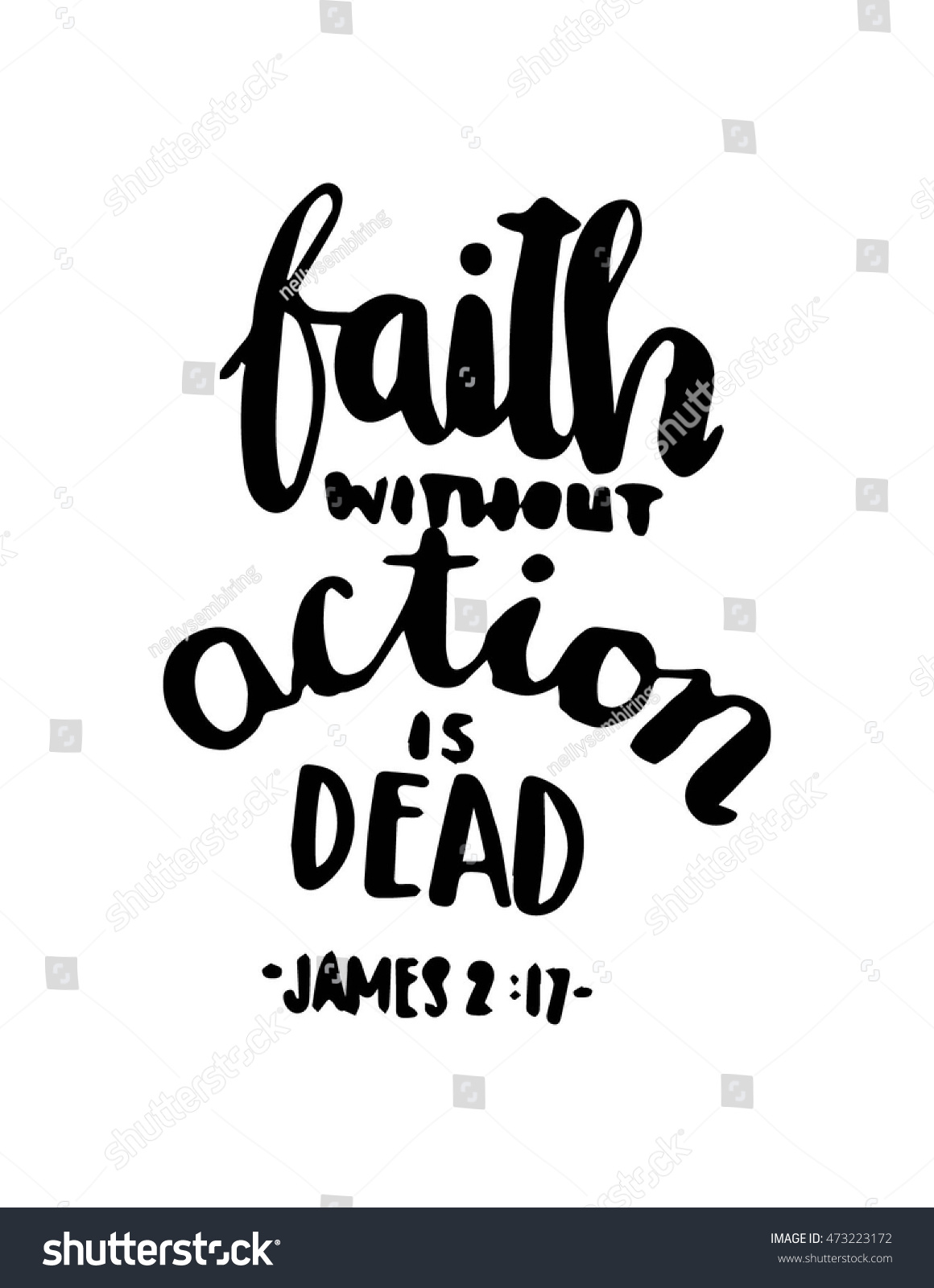 Faith Quotes From The Bible Bible Quote Faith Without Action Dead Stock Vector 473223172