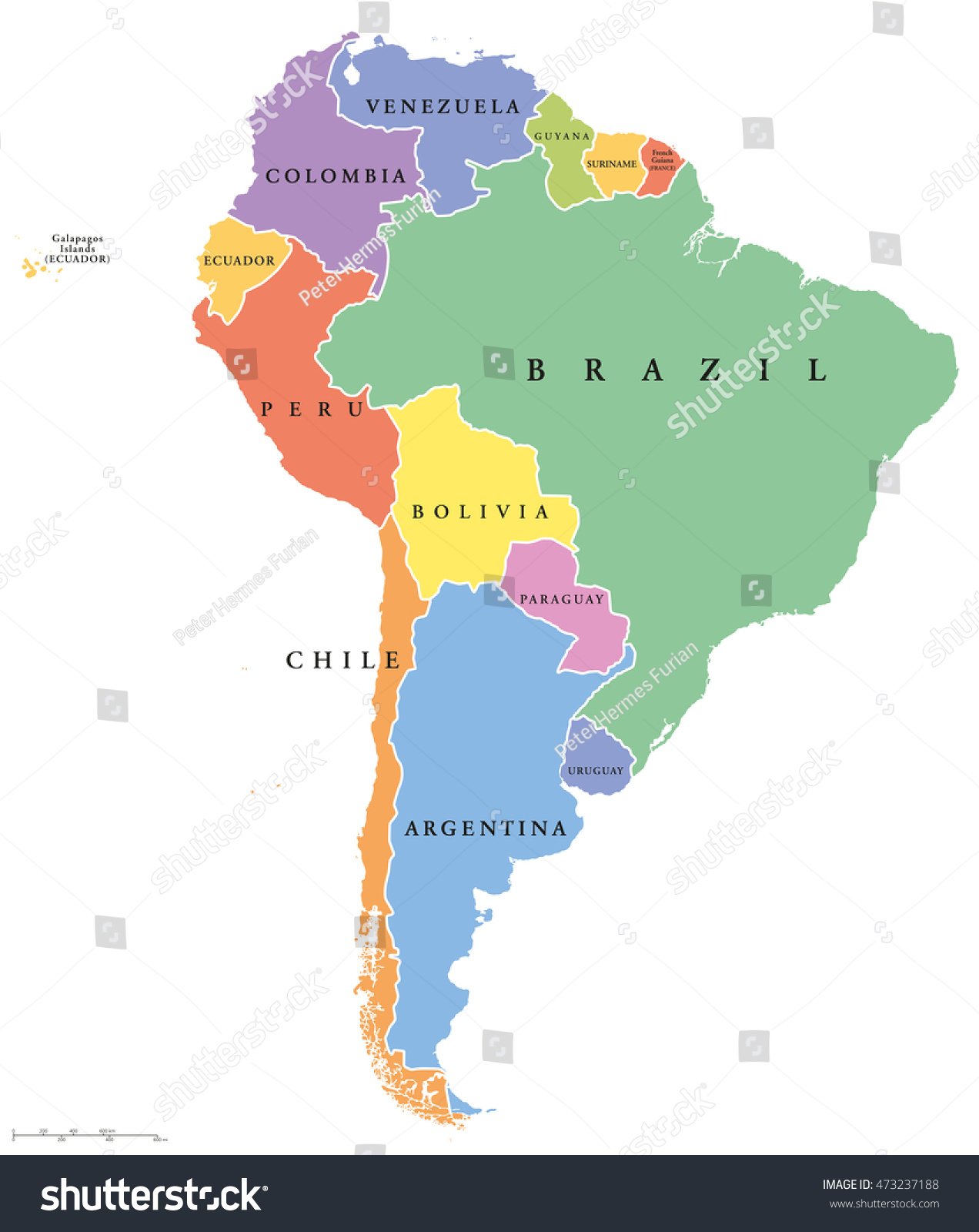 South America Single States Political Map Stock Vector 473237188