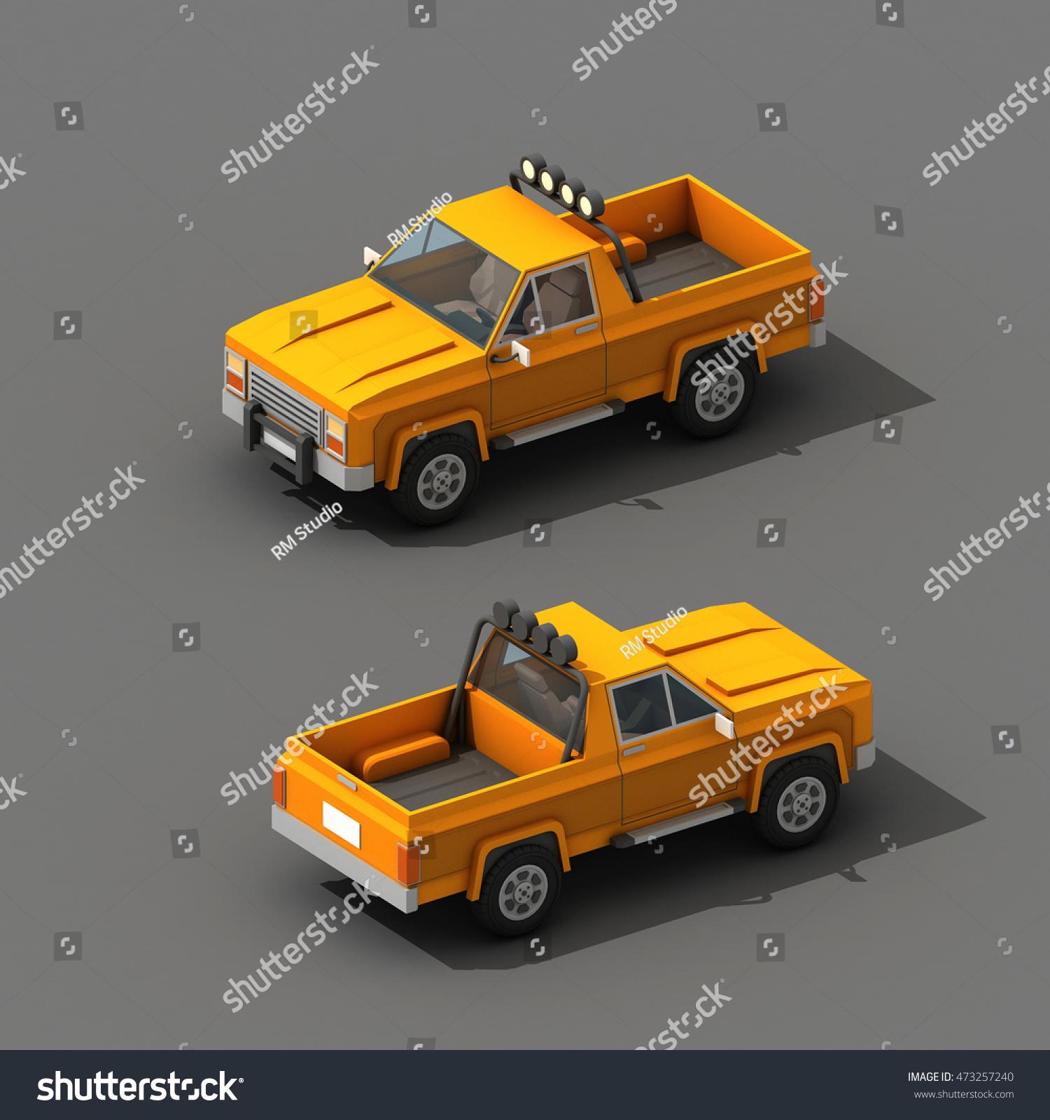 Cartoon Low Polygon Car 3 D Rendering Stock Illustration