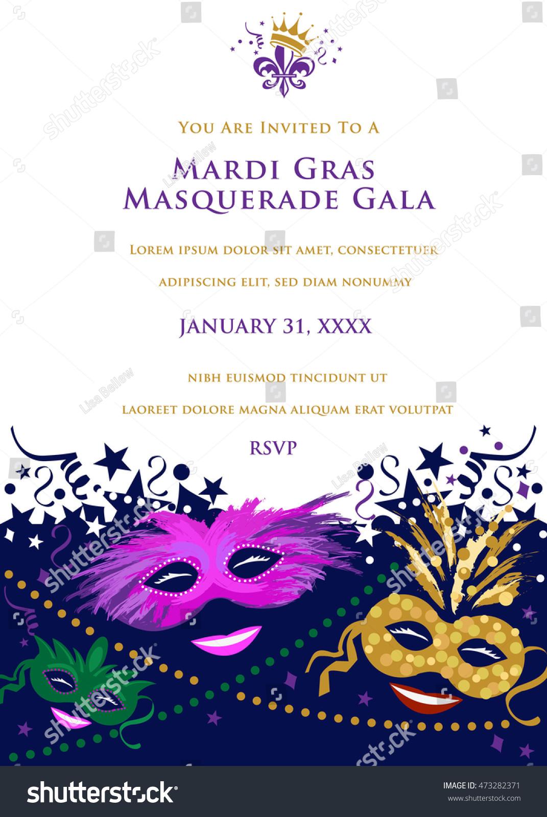 Mardi Gras Masquerade Party Invitation Stock Vector 473282371 ...