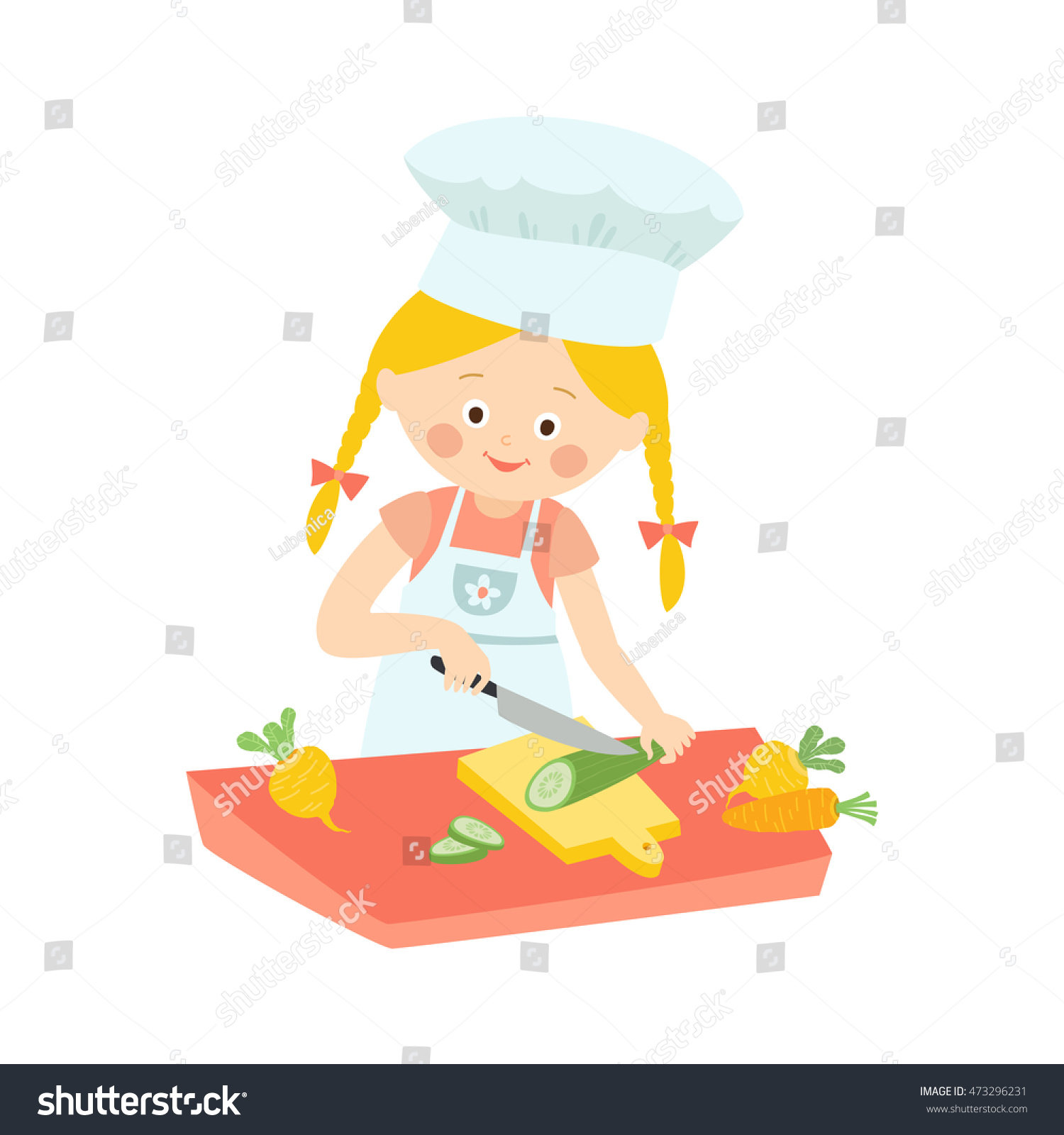 little girl cooking cute child cutting stock vector