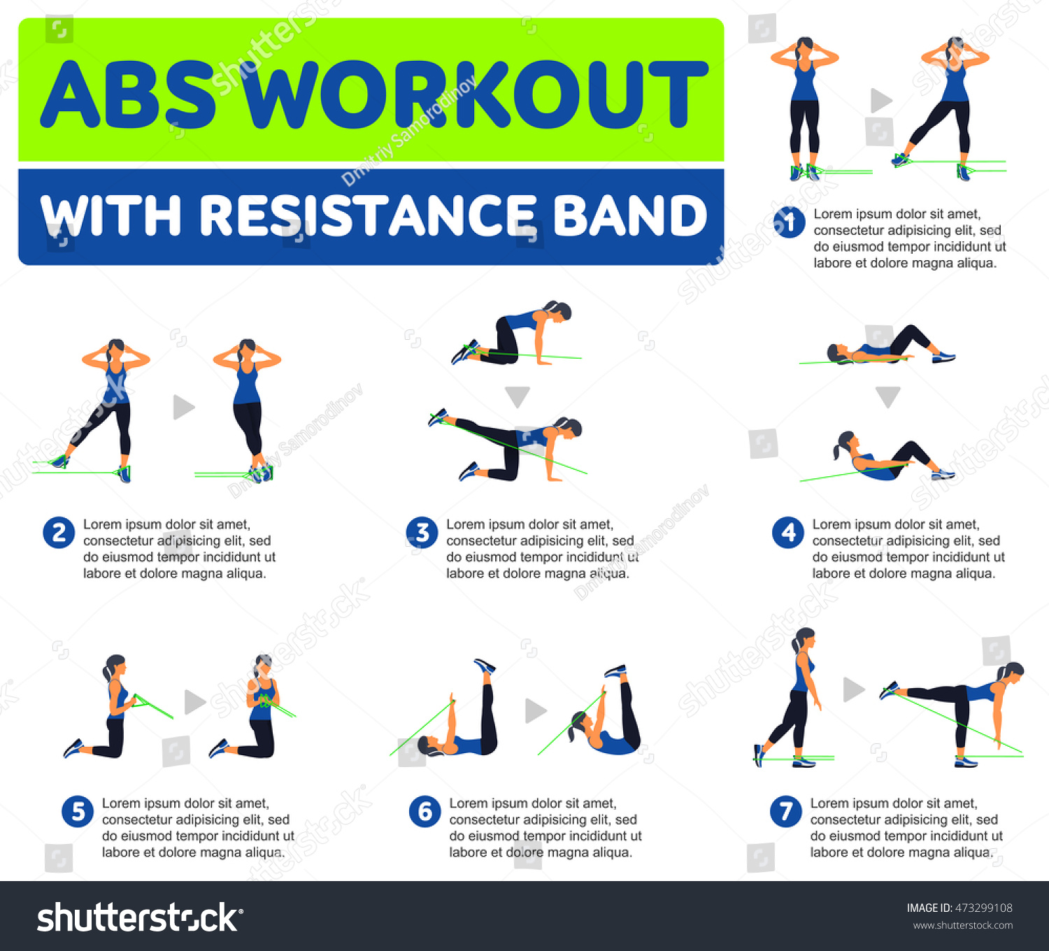 Workout Bands Music: Abs Workout Resistance Band Fitness Aerobic Stock Vector