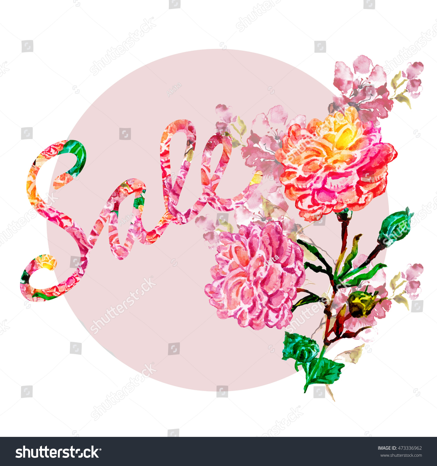 Royalty Free Stock Illustration of Water Color Letters Flowers Drawn ...
