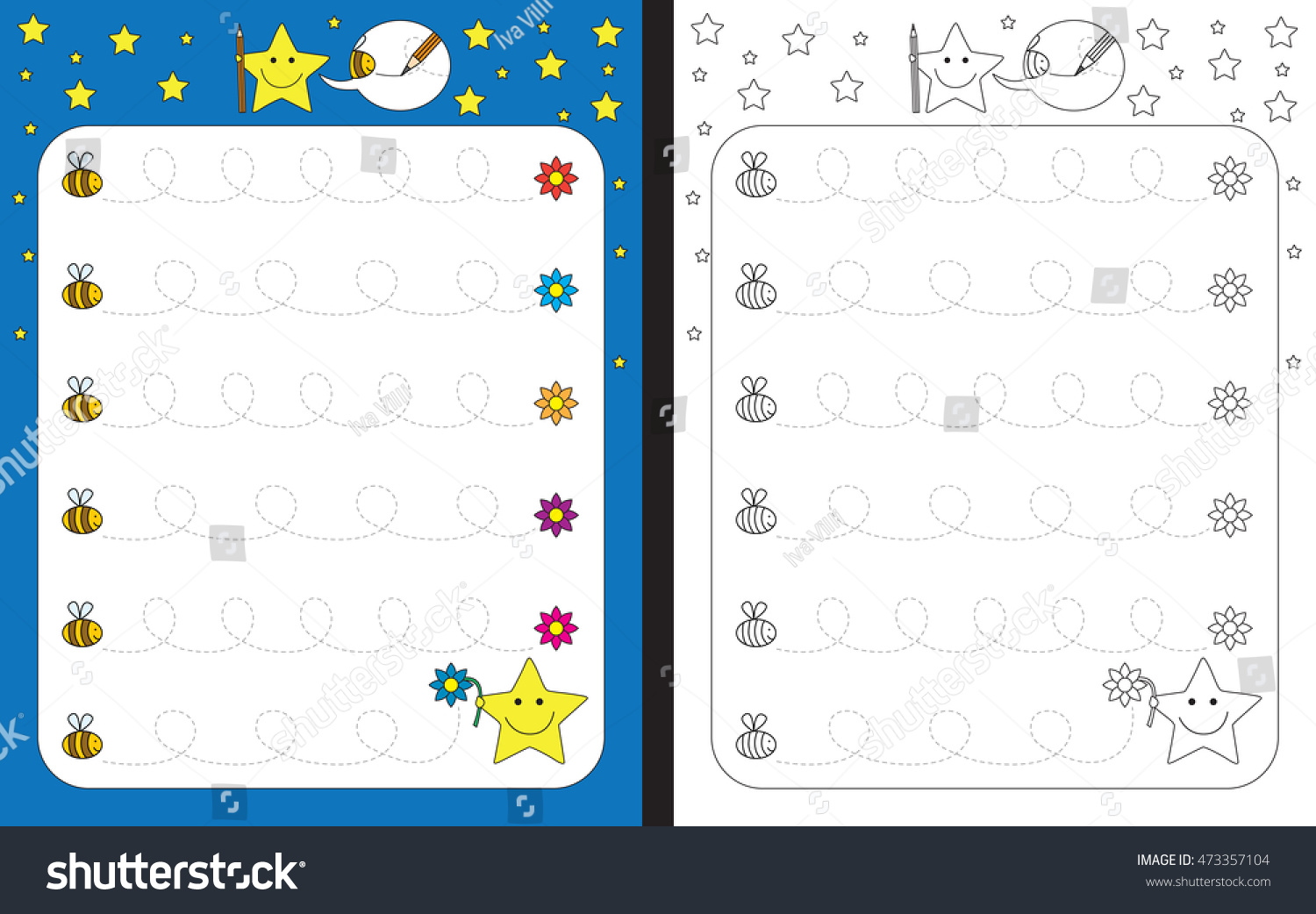 Preschool worksheet for practicing fine motor skills tracing dashed lines