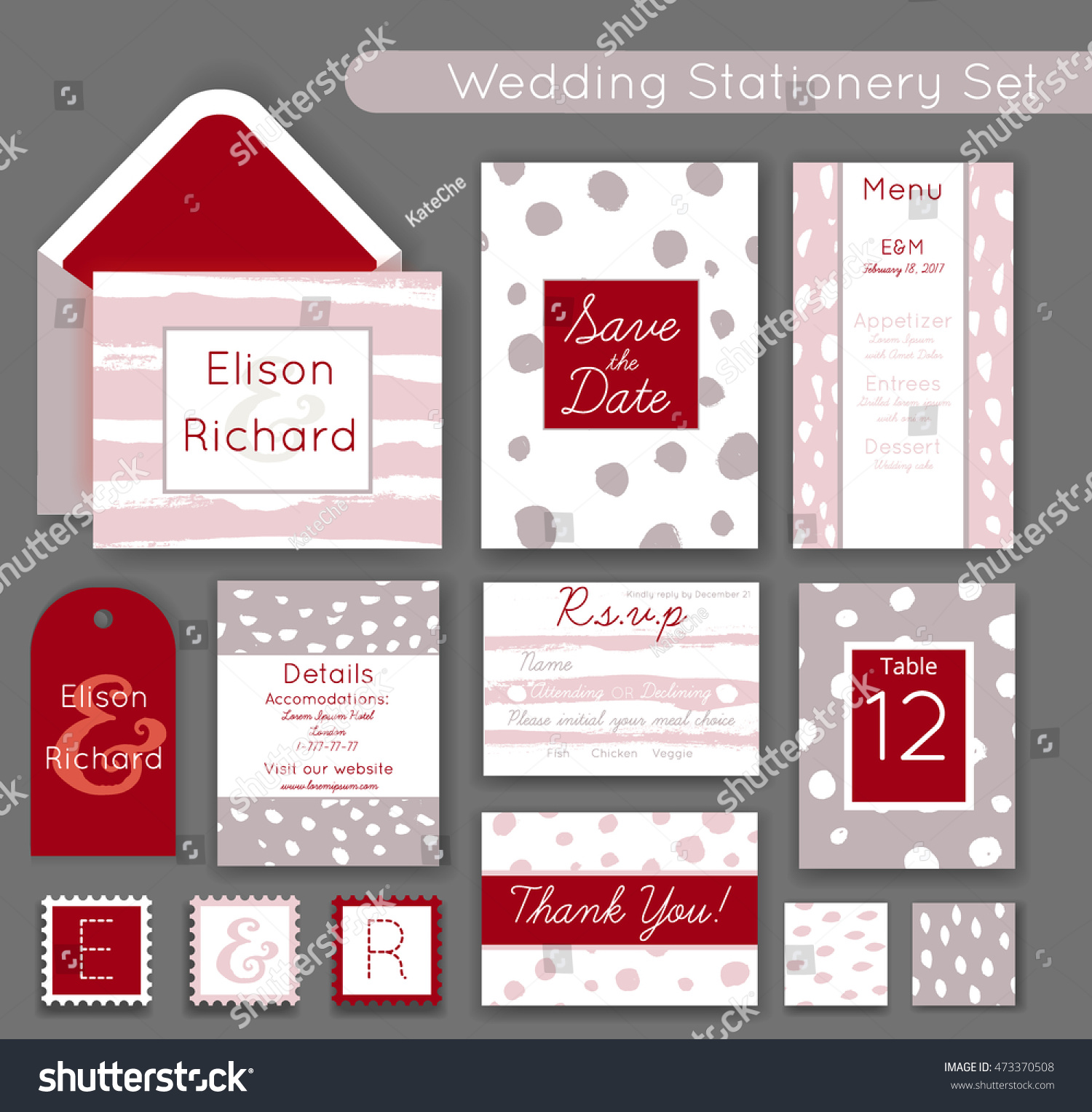 Wedding Invitations Set Save Date RSVP Stock Vector 473370508 ...
