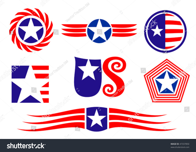 American Patriotic Symbols Set Design Decorate Stock Vector Royalty