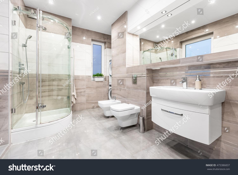 Modern Beige Bathroom Window Walk Shower Stock Photo (Royalty Free ...