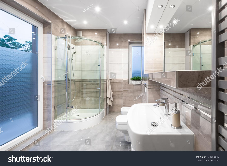 New Design Bathroom White Beige Window Stock Photo (Royalty Free ...