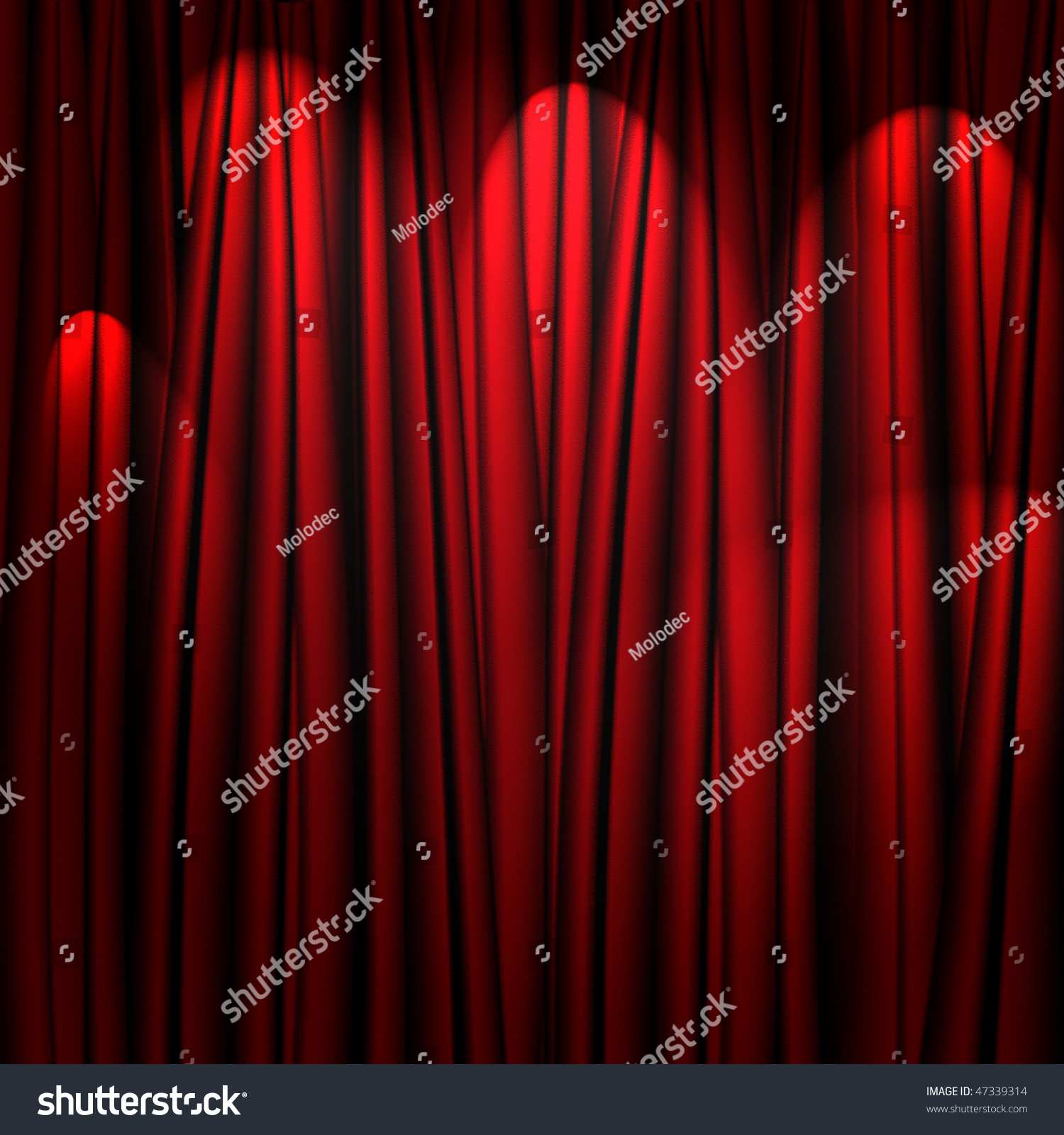Red stage curtain with lights - Red Theater Curtain With Soft Lighting