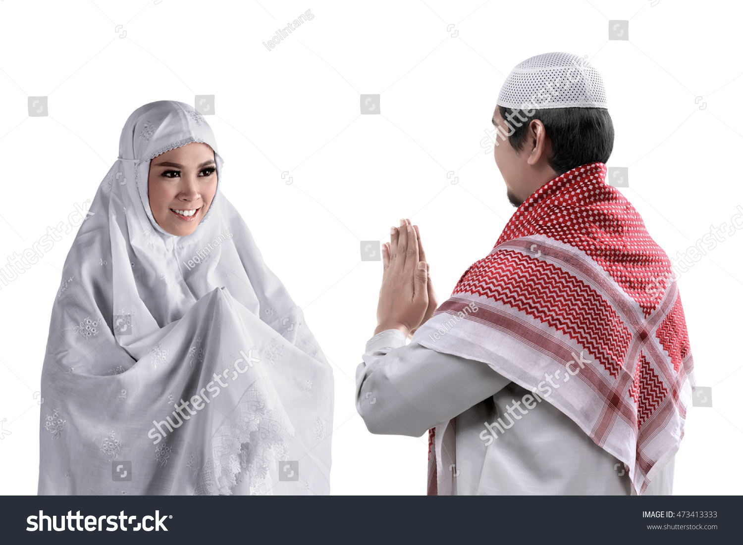 Asian Muslim Man Woman Greet Each Stock Photo Royalty Free