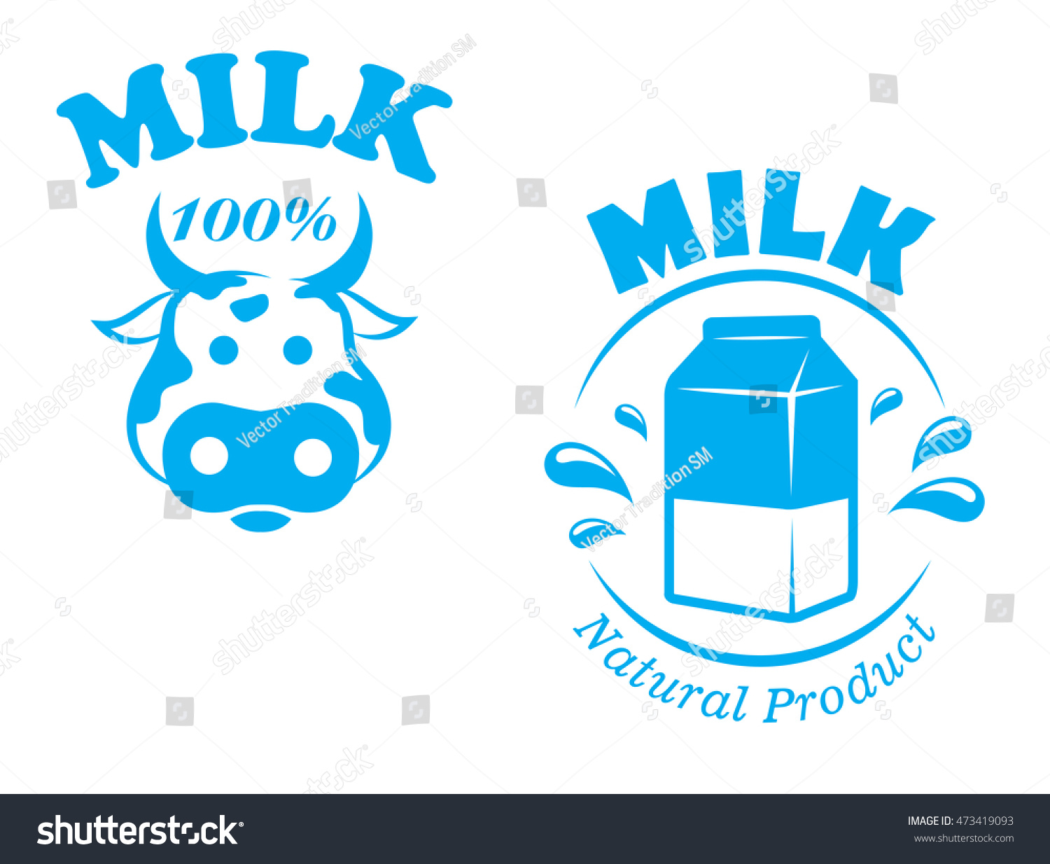 Milk emblem symbol cow head package stock illustration 473419093 milk emblem or symbol with cow head and package of one hundred percent natural product for buycottarizona