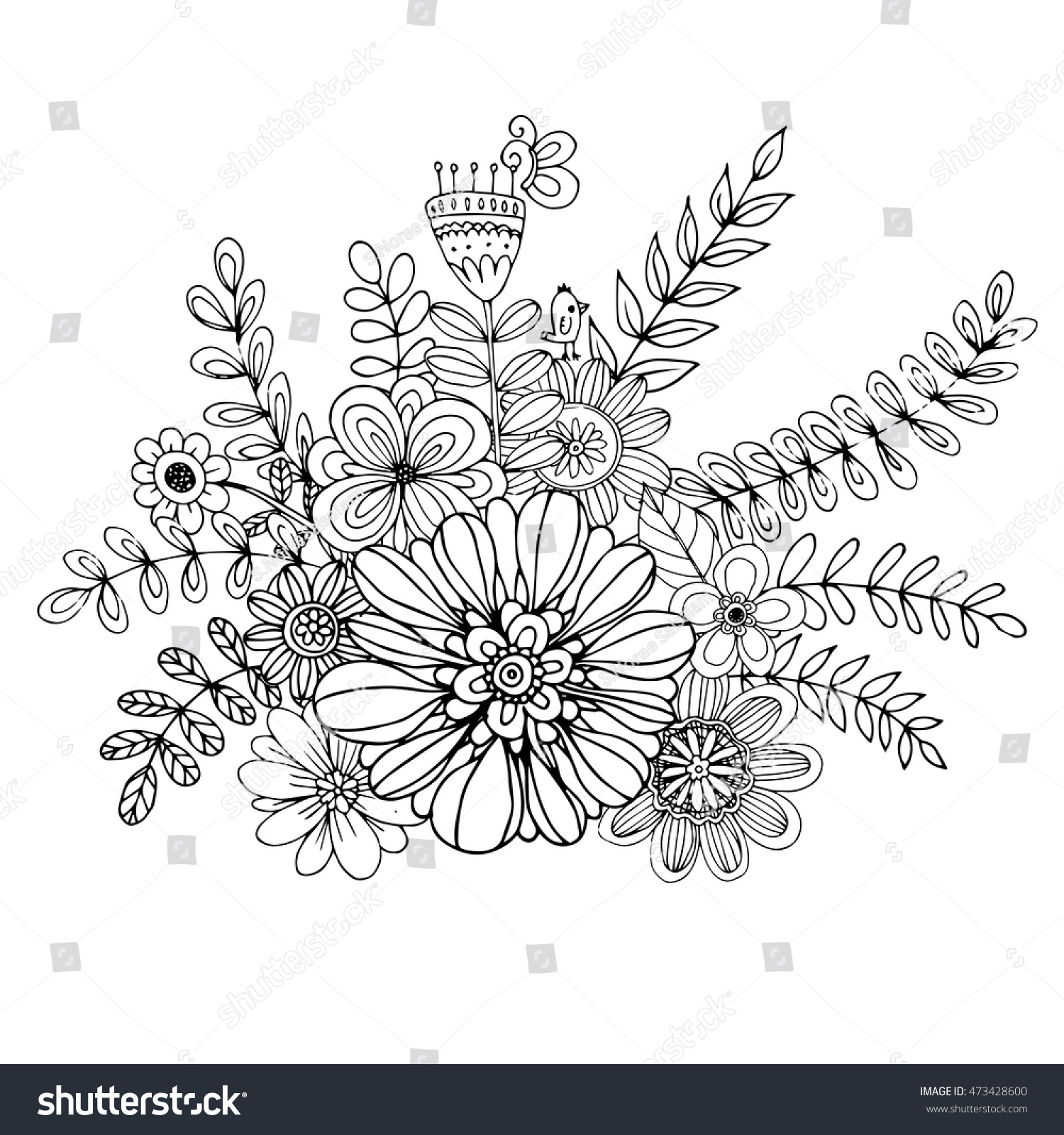 Flower Doodle Drawing Freehand Vector Coloring Stock Vector HD ...
