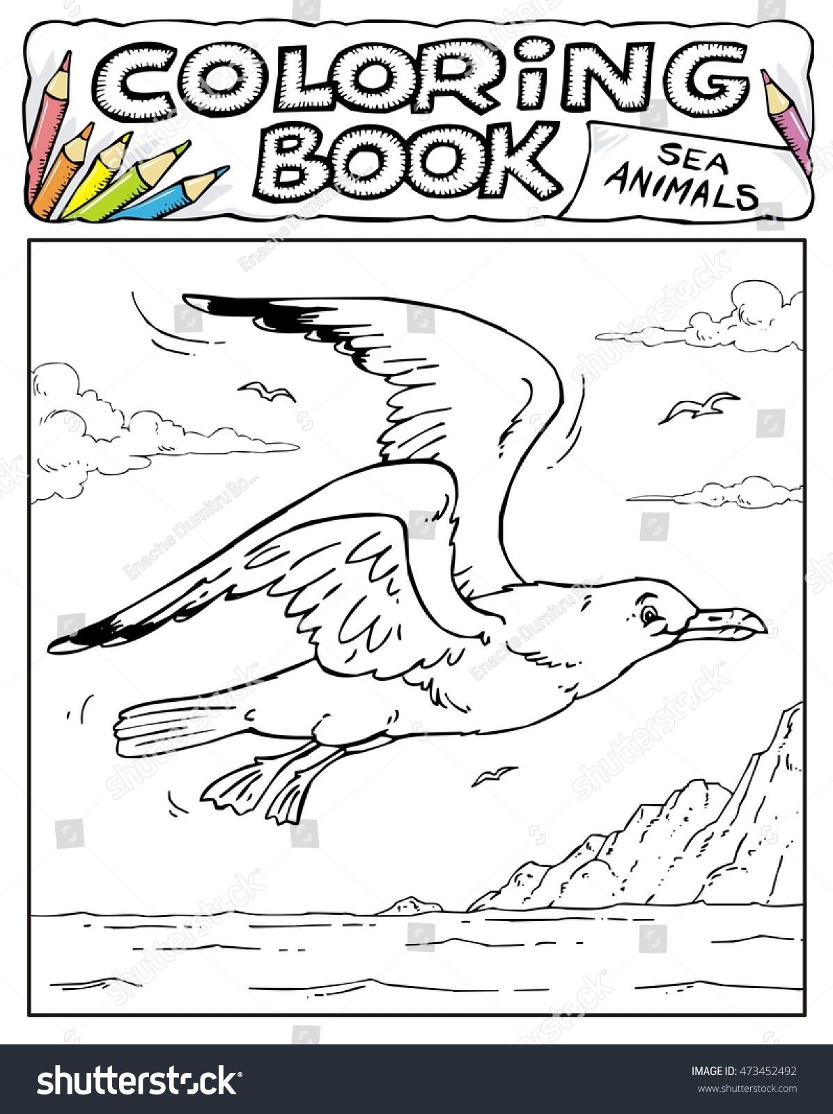 Seagull Coloring Book Pages Sea Animals Stock Vector 473452492