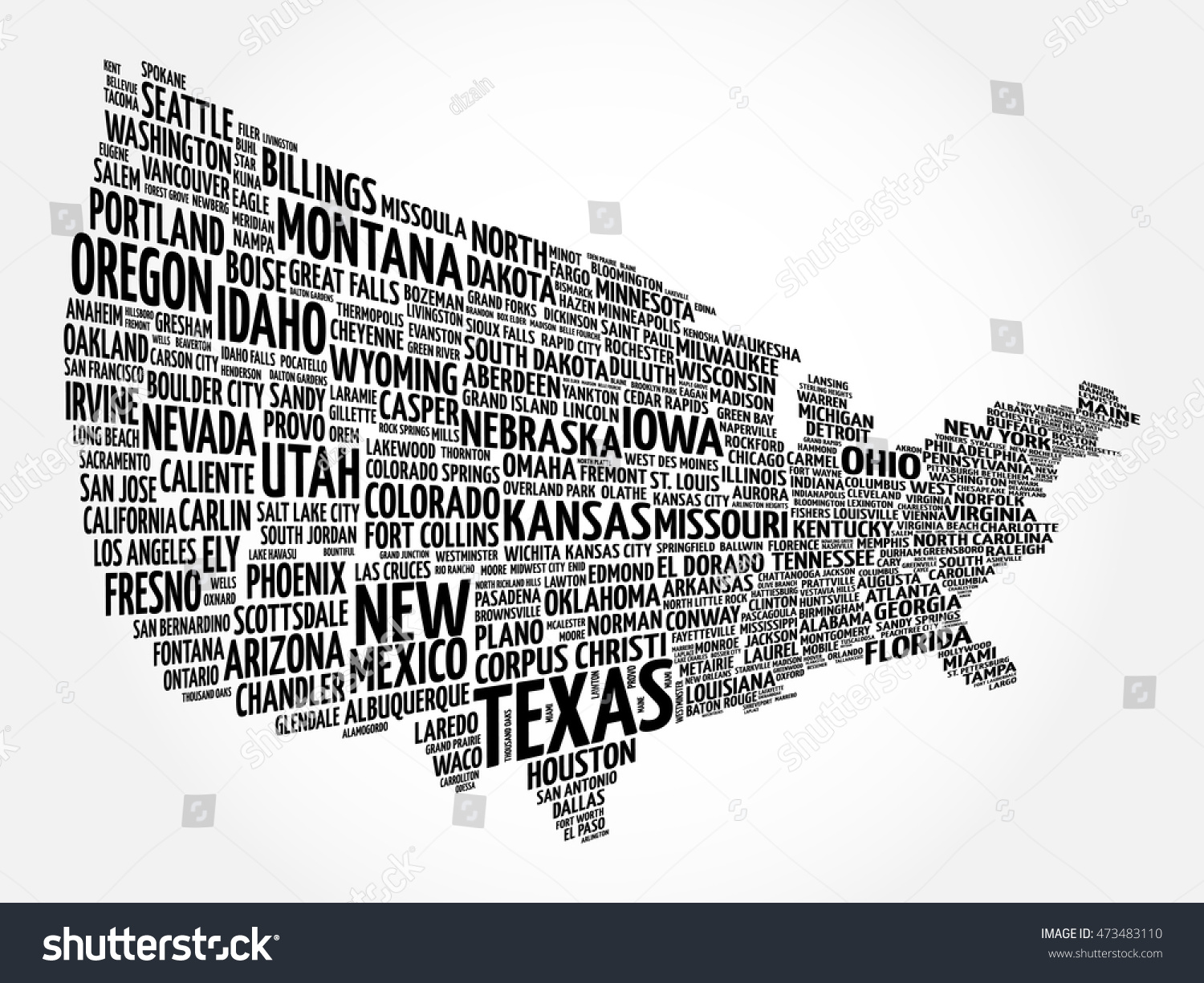 Usa map word cloud collage most vectores en stock 473483110 usa map word cloud collage with most important cities gumiabroncs Choice Image