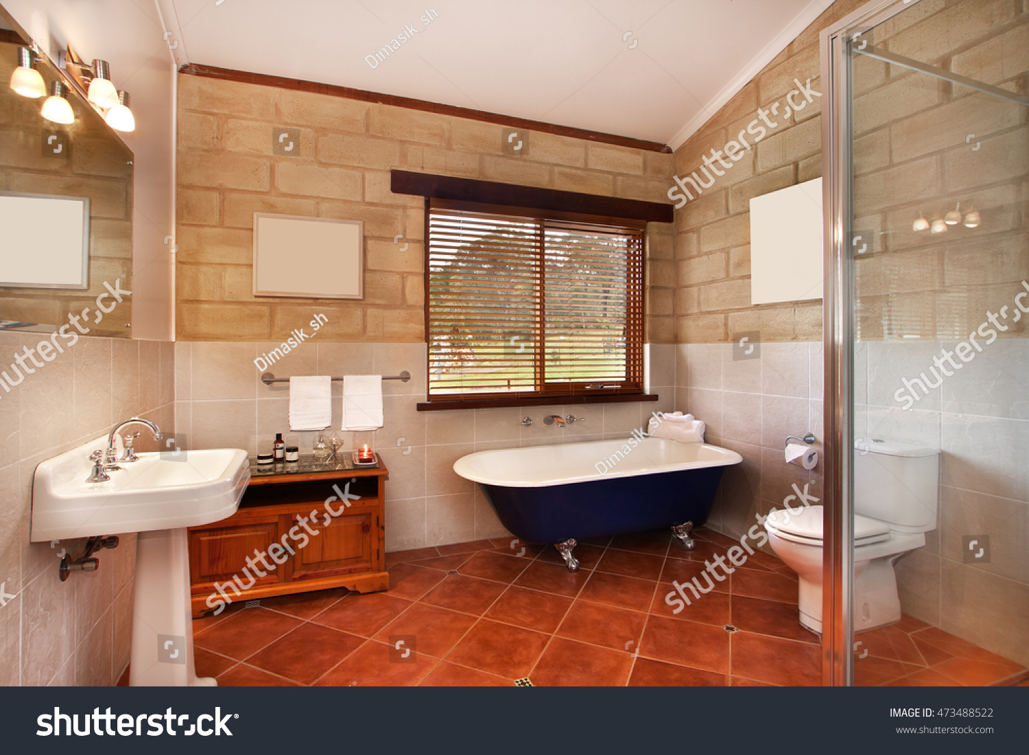 modern bathroom luxury apartment stock photo 473488522 shutterstock. Black Bedroom Furniture Sets. Home Design Ideas