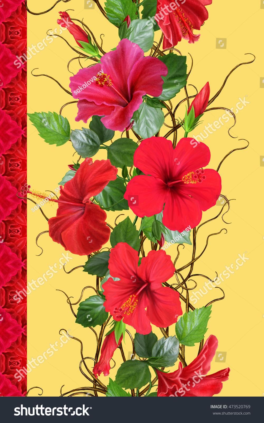 Vertical floral border pattern seamless flower stock illustration vertical floral border pattern seamless flower garland weaving of thin branches izmirmasajfo Gallery