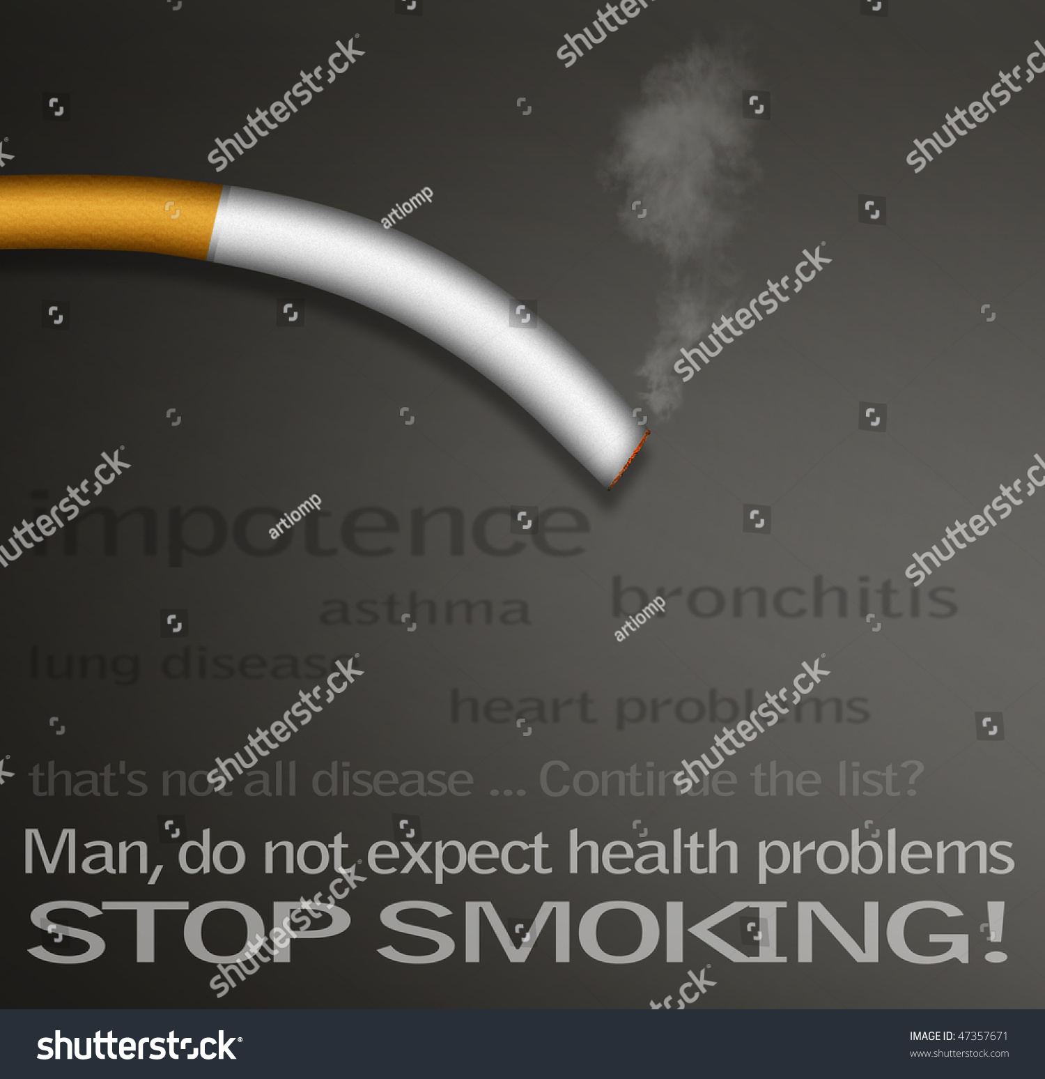 stop smoking campaign posters with a list of diseases