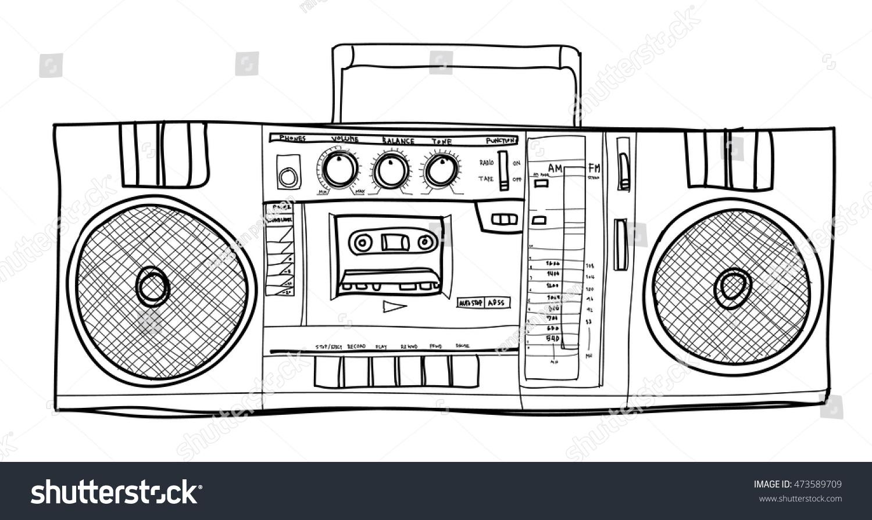 Vector Stereo Boombox Radio Vintage Handdrawn Vector de ...