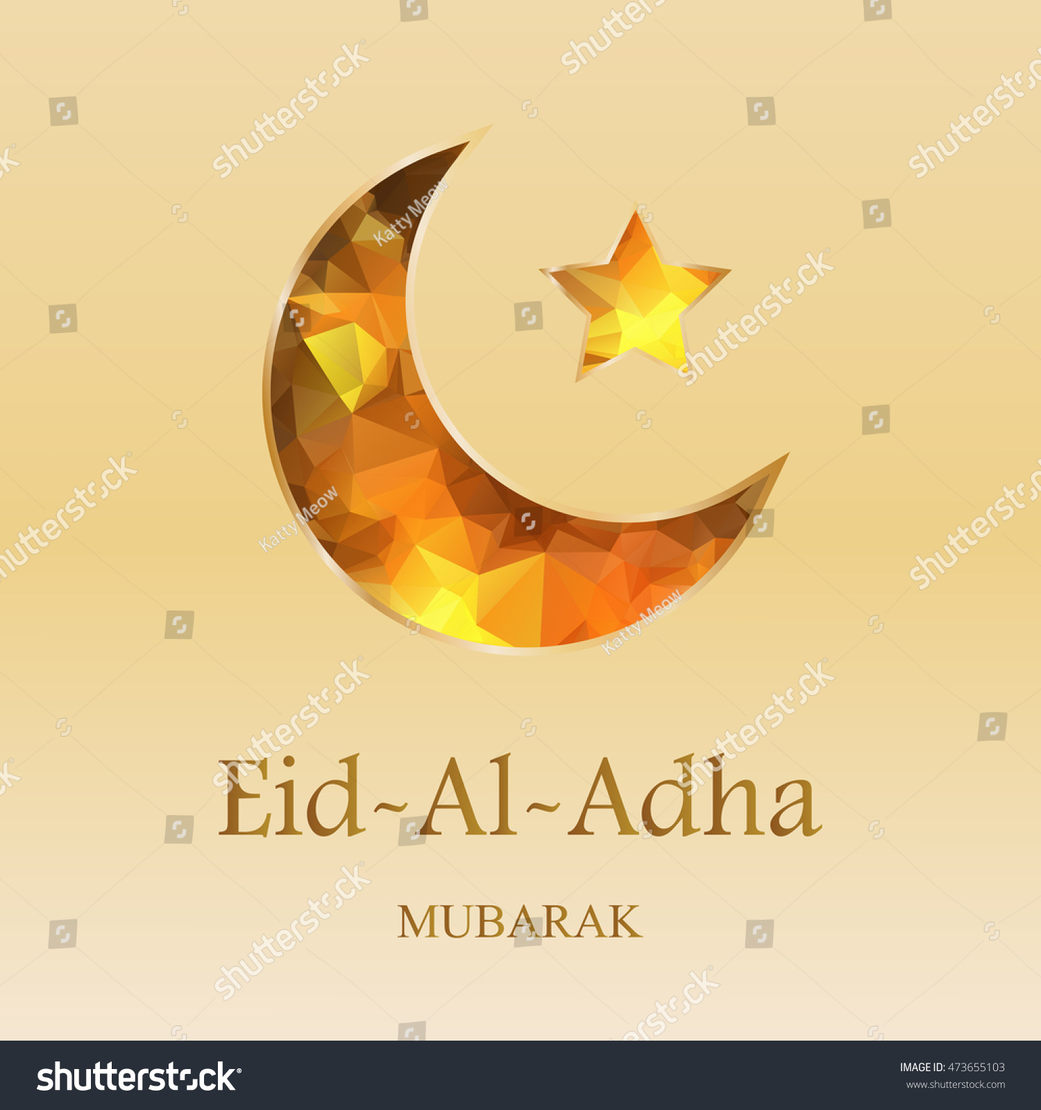 Islamic Greetings Background Golden Polygonal Moon Stock Vector