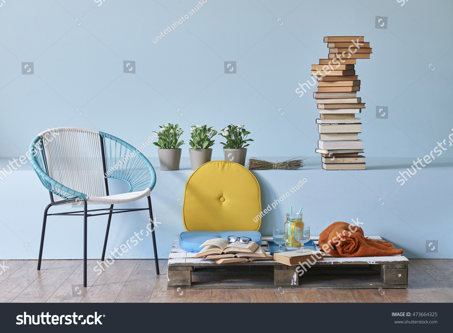 Modern blue wall interior style home and office