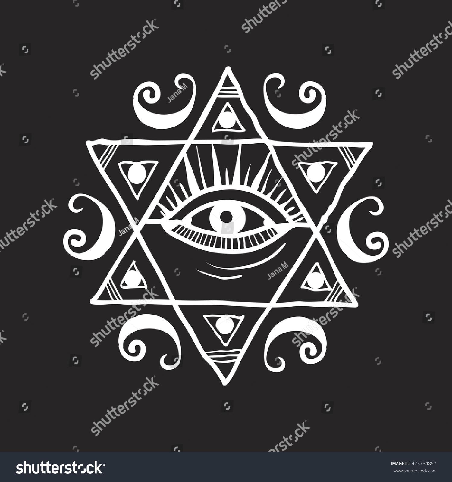 Hand drawn ancient mystical symbol eye stock vector 473734897 hand drawn ancient mystical symbol an eye in the hexagon on a black background biocorpaavc Choice Image