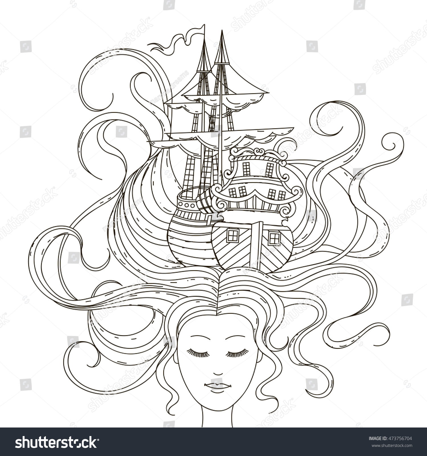 hand drawing ship her hair stock vector 473756704 shutterstock