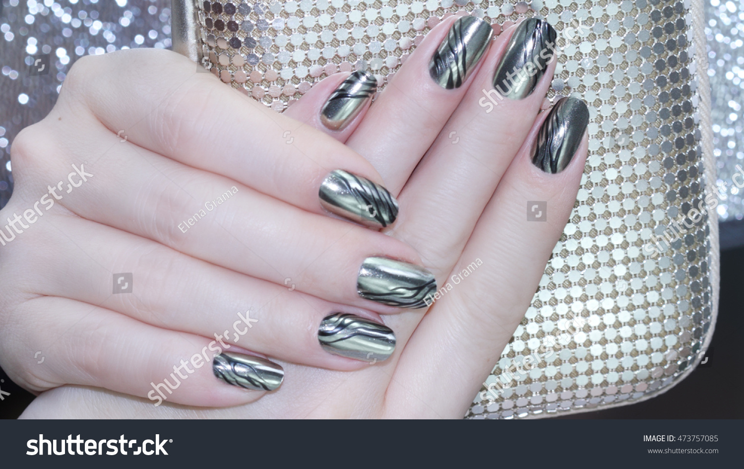 Metallic Nail Design Manicure Nail Paint Stock Photo (Royalty Free ...