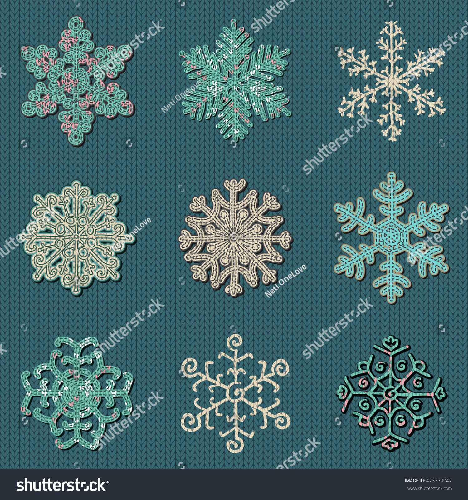 Set Nine Cute Sewn Knitted Snowflakes Stock Vector 473779042 ...