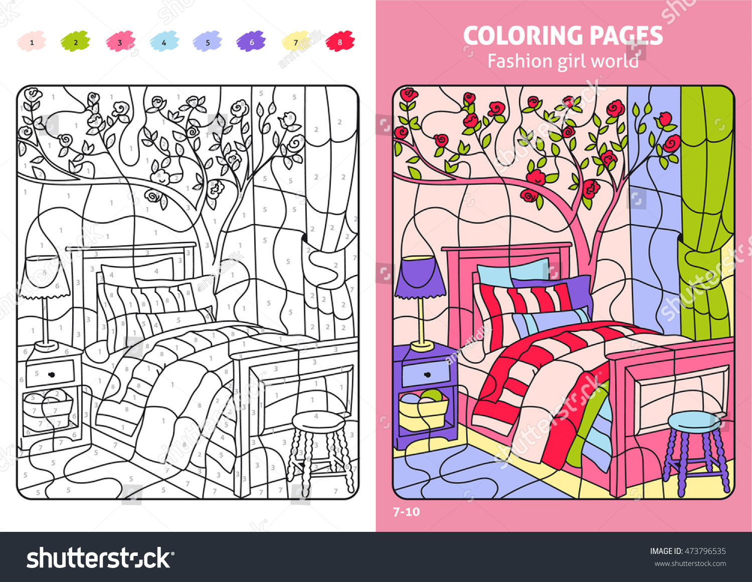 Fashion Girl World Coloring Pages Kids Stock Vector Royalty Free 473796535