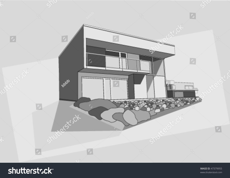 Modern House Vector Draw - 47379955 : Shutterstock - ^