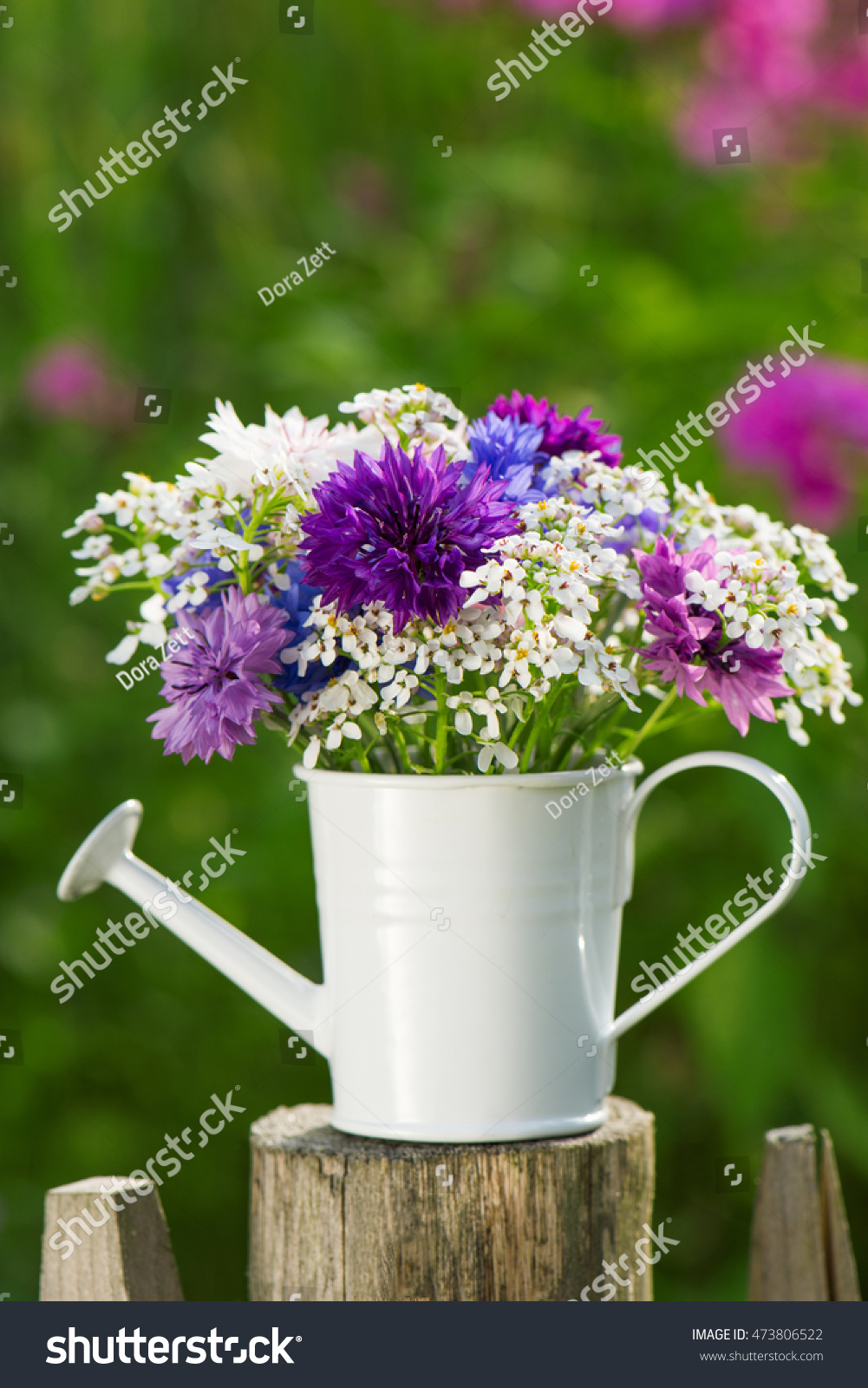 Bouquet of purple flowers in small bucket - horizontal | EZ Canvas