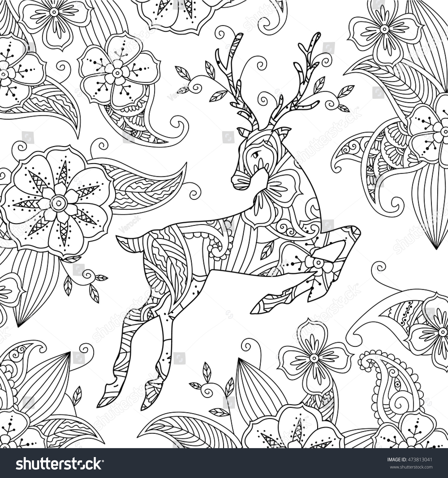 Coloring Page Beautiful Running Deer Floral Stock Vector 473813041 ...