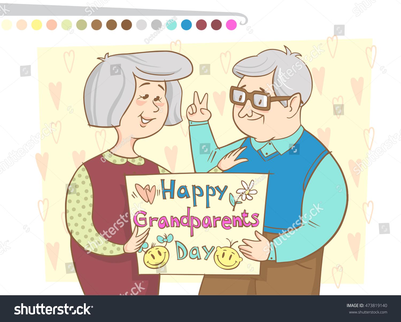 Vector Illustration Grandparents Greeting Card Grandfather Stock