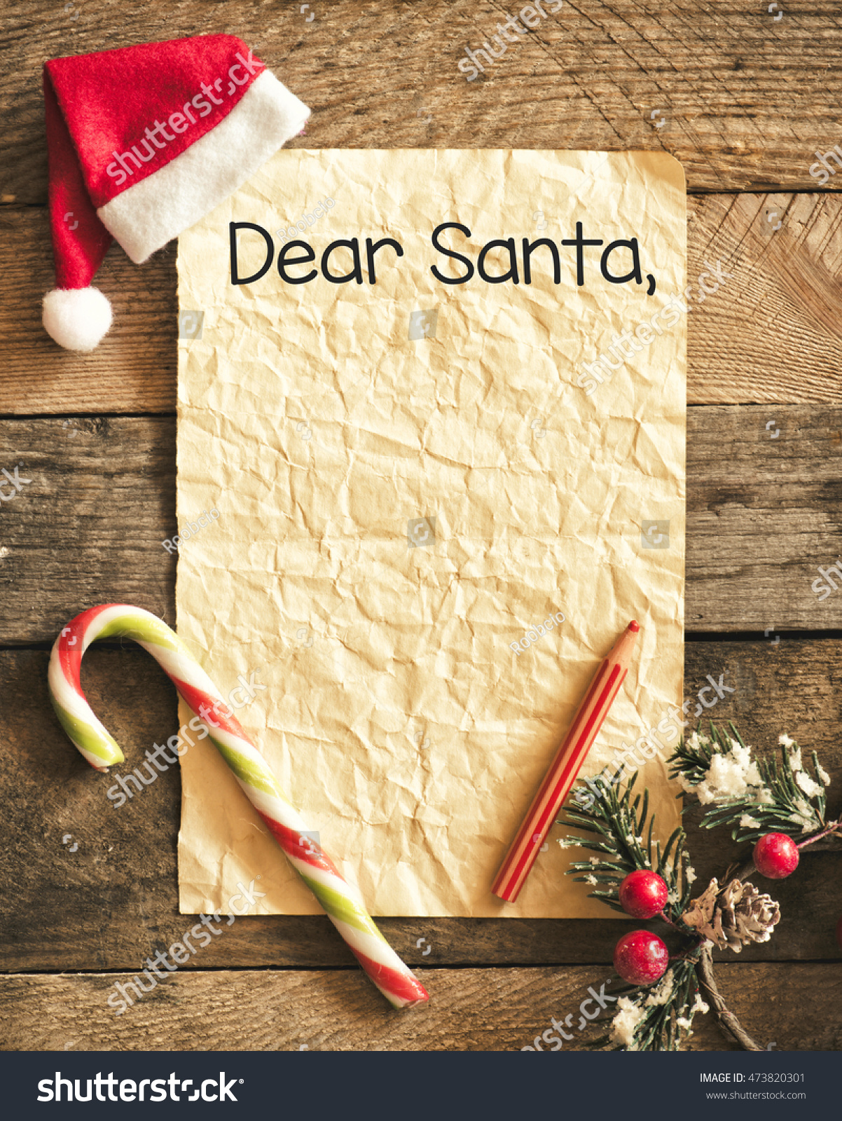 Child Letter Santa Claus Christmas Decorations Stock Photo Royalty