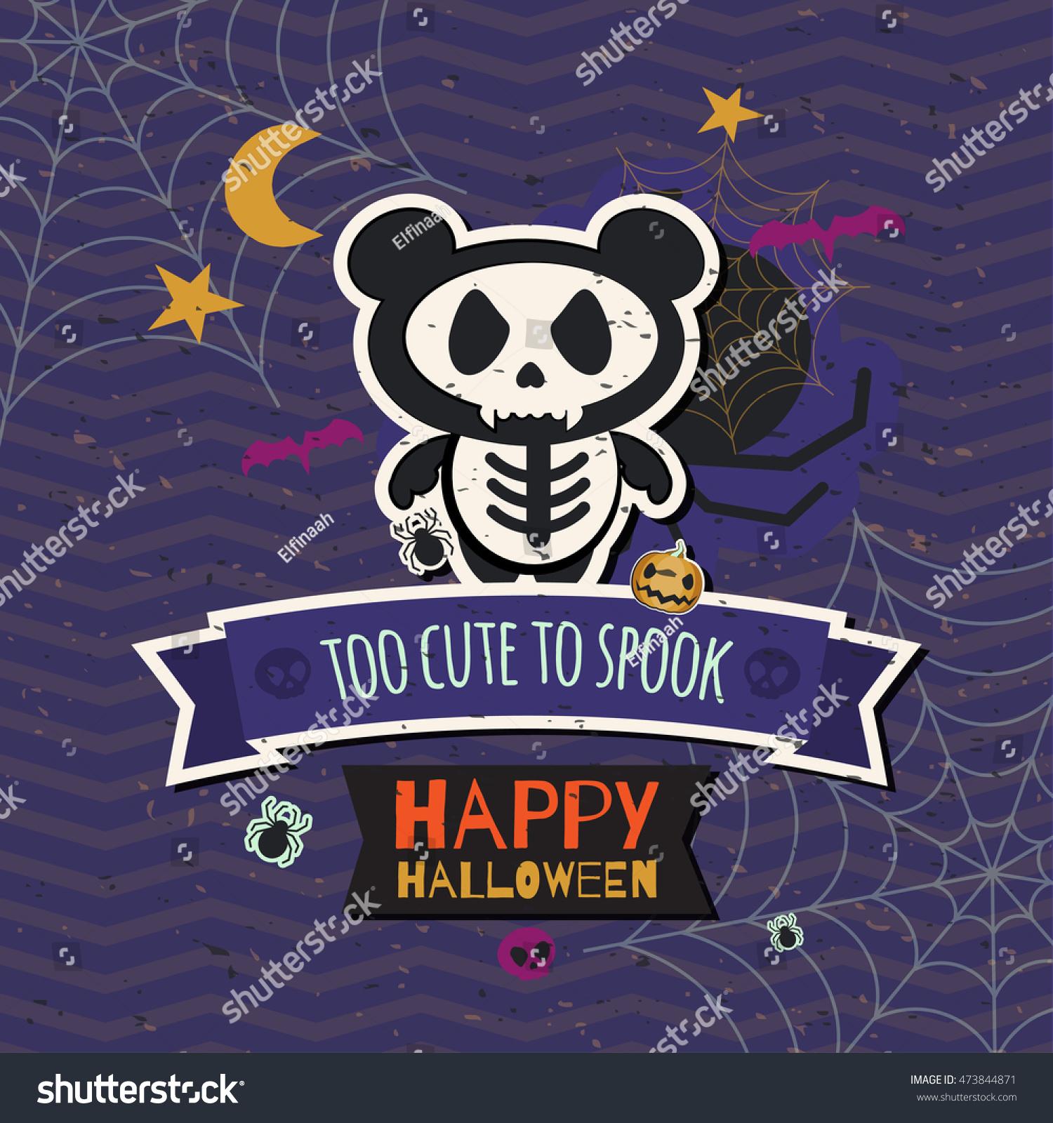 Must see Wallpaper Halloween Skull - stock-vector-happy-halloween-wallpaper-poster-card-badge-decoration-cute-scary-skeleton-panda-473844871  2018_512359.jpg