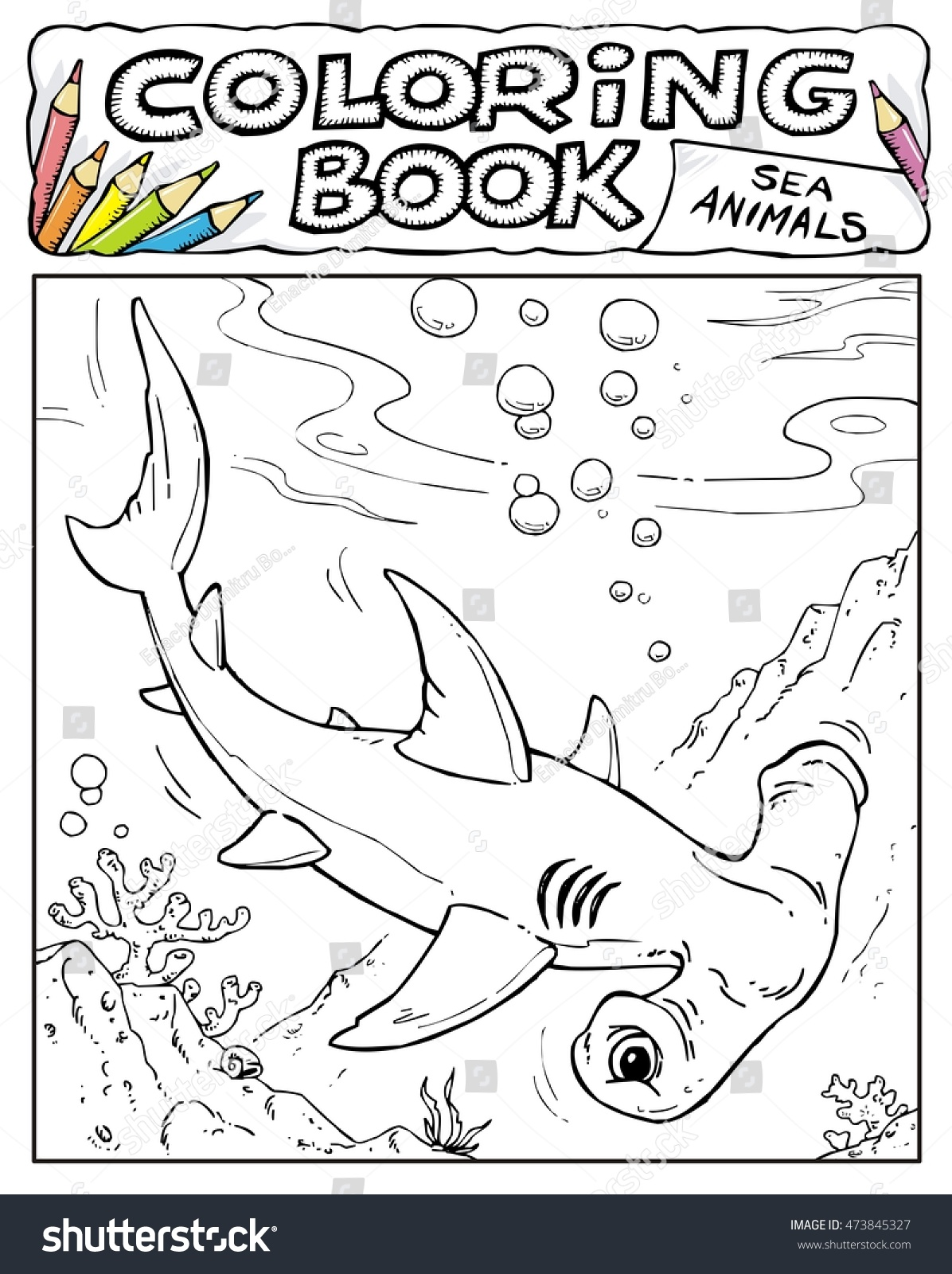 hammerhead shark coloring book pages sea animals collection page no 2 5 - Shark Coloring Book