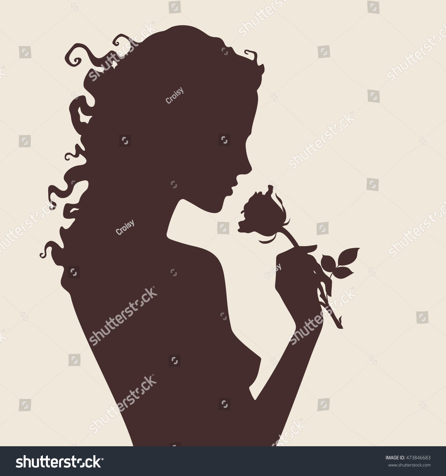 Vector Silhouette Beautiful Curly Girl Rose Stock Vector ...