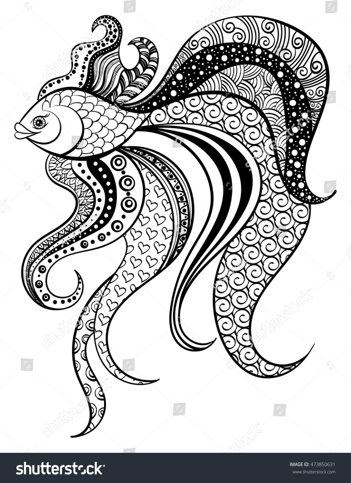 fish zentangle adult coloring page doodle vector illustration hand drawn pattern zen