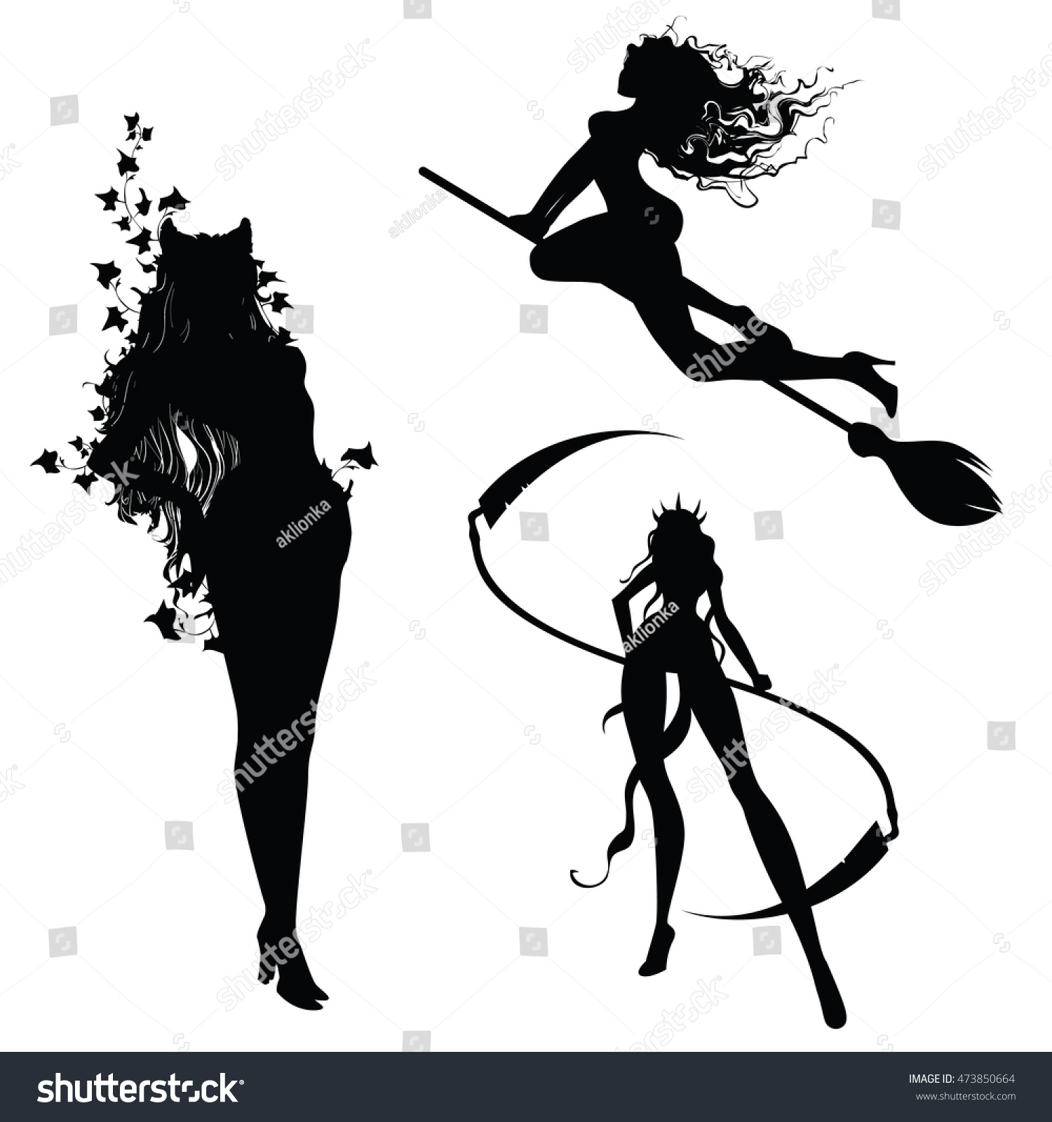 set 3 different silhouettes witches silhouettes stock illustration